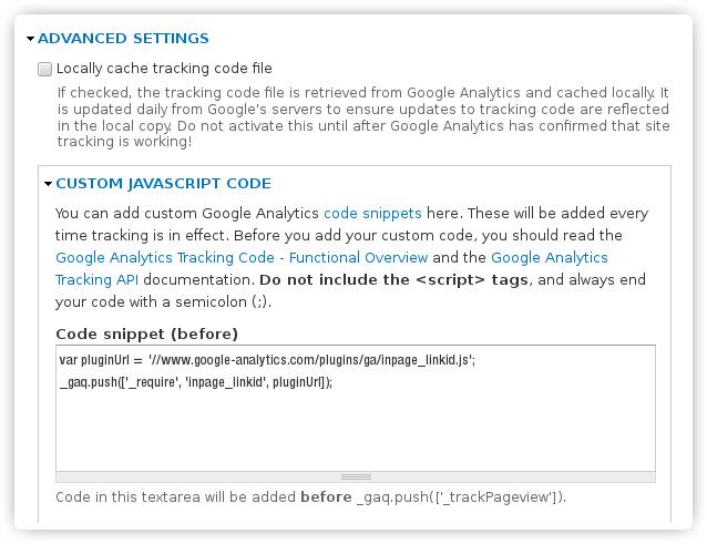 Pagina di configurazione avanzata di Drupal per GA