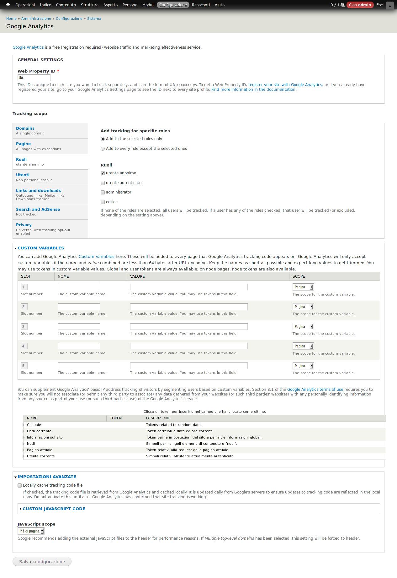 SEO: Modulo Drupal 7 per Google Analytics