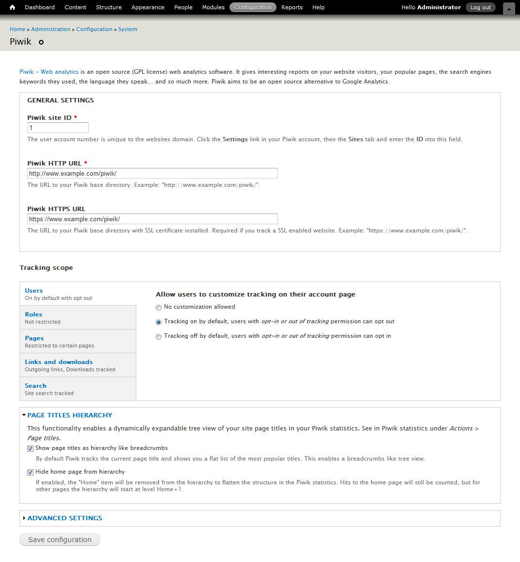 SEO: Modulo Drupal 7 per Piwik