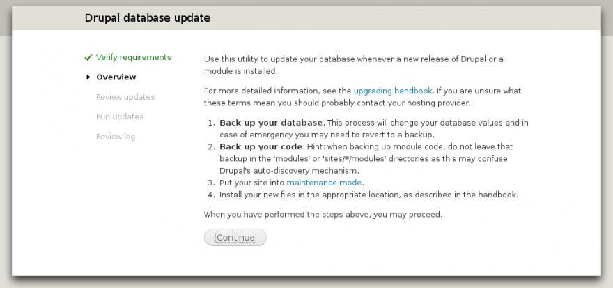 Aggiornare il core Drupal ed il Database